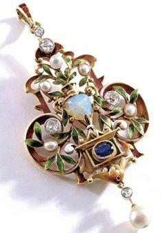 Renaissance Revival pendant of gold, enamel, opal, sapphire, diamond and pearl, Ca 1895