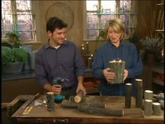 @Julie Robinson   Martha Stewart and craftsman Tom Tambella make wood candle holders with tea light votive candles and small tree logs.