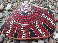 Dot Painted Beach Stone/Painted Rock/Painted Stone/Dot Art on Stone/The Lakeshore Store