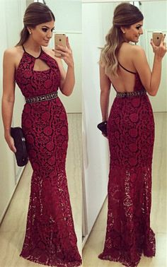 Backless Red Lace Maxi Dress