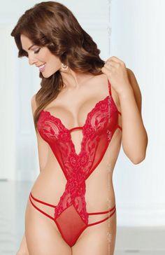 Softline Sue body czerwone Delikatne a zarazem bardzo ponętne body wykonane z elastycznej koronki
