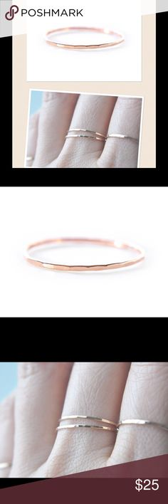 Rose Gold Stacking Ring A faceted stacking Ring made of 14k rose gold filled. Available in sizes 2-13. nejd Jewelry Rings