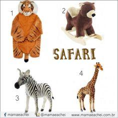 """Mood Safari você encontra no nosso SHOPPING VIRTUAL www.mamaeachei.com.br VEJA AGORA!    1 -Cobertor Tigre - para aquecer a brincadeira da criançada.    2 - Balanço Urso - Toda criança adora um balanço e esse de urso é um charme, que também pode dá um """"up"""" na decor do quarto do seu filho.    3 -Zebra Filhote - Se a decoração do quarto do seu filho for tema SAFARI, então os filhotes Zebra e Girafa vão dar o toque todo especial.    4 -Girafa Filhote - PROCURE no site www.mamaeachei.com.br…"""