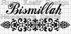 #bismillah #etamin #pano Le Point, Cross Stitch Embroidery, Projects To Try, Boarders, Islamic, Patterns, Names, Hardanger, Black And White