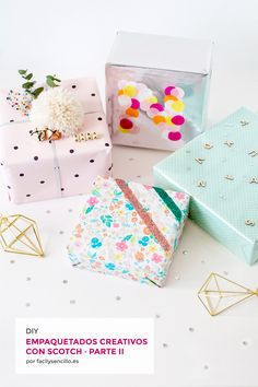 EMPAQUETADOS CREATIVOS CON SCOTCH – PARTE II* - Fácil y Sencillo Christmas Gift Wrapping, Christmas Gifts, Diy Paper, Paper Crafts, Present Wrapping, Wrapping Ideas, Ideas Geniales, Beautiful Gift Boxes, Paper Goods