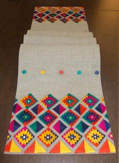 Table runner pure linen multicolor embroidery aztec bohemian peruvian runner ethnic sizes available Phulkari Embroidery, Hand Embroidery Dress, Embroidery Works, Simple Embroidery, Hand Embroidery Patterns, Embroidery Stitches, Cross Stitch Patterns, Broderie Simple, Motifs Textiles
