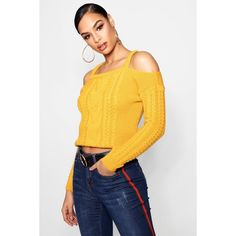 Boohoo Zoe Slash Detail Cable Knit Jumper (€14) ❤ liked on Polyvore featuring tops, sweaters, sequined sweaters, cable knit sweater, cable turtleneck sweater, turtleneck sweater and wrap sweater