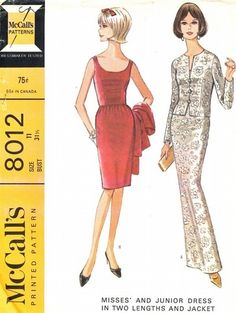 McCall's Pattern 8012 Vintage 60's Elegant Slim Evening/Cocktail Dress + Jacket! Uncut Size 11