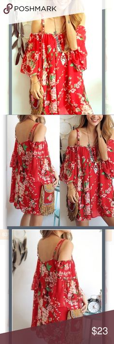 NEW Gorgeous red cold shoulder boho dress ❤️  Gorgeous red cold shoulder boho dress ❤️ So sexy & comfy. Flowy Dress ... So fabulous, you can dress it up or down. Great for Summer .... Perfect for the beach or any upcoming event. Various sizes Dresses