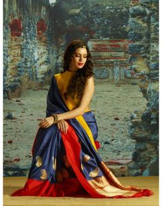 Exclusive Blue and Red Handloom Silk Saree