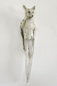"""Jane Rosen - """"Fox Girl""""; Hand blown glass, marble mix, and sumo-e ink; 20x5x5 (2010)"""