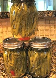 Green bean pickles :) Of course one of the reasons I got married is to get these from my in-laws