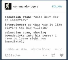 Bucky Barnes is not a villain. *shoves breadsticks into purse* I also have to leave right now with Sebby. Marvel Heroes, Marvel Avengers, Marvel Comics, Marvel Funny, Stucky, Geek Out, The Villain, Bucky Barnes, Sebastian Stan