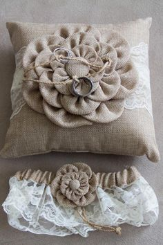 Wedding rings attached to burlap and lace ring-bearer pillow | Shelly Taylor Photography