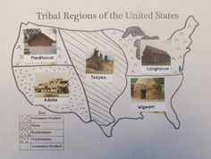 Tribal Regions of the United States Map (free; from Kindergarten: Holding Hands and Sticking Together)
