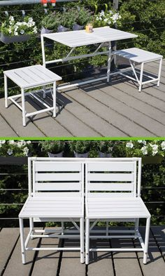 MyBalconia BL064 Convertible Bench White. Balcony Bench With Integrated Folding  Table. 2 Seater As Bench Or 2 Seats With Table.