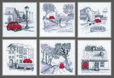 схема вышивки крестом, красная машина, автомобиль, черно-белая картина