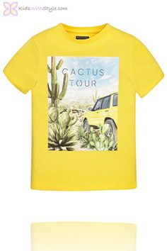 Boys Graphic Cactus Graphic T-Shirt in Yellow Young Boys Fashion, Boy Fashion, Spring Fashion, Boys Shirts, T Shirts For Women, Emotional Child, Hipster Girls, Stylish Boys, Baby Models