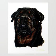Male Rottweiler Art Print by Taiche