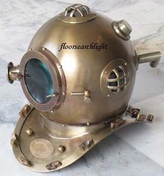 Antiques Sporting Antique Yellow Diving Helmet Us Navy Anchor Engineering Divers Helmet Replica Delicacies Loved By All