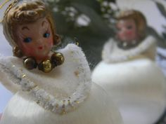 Angel Spun Satin Ball Vintage Christmas Ornaments by DreamLandEtsy, $18.00