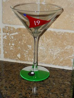 19th Hole Hand Painted Golf Lover's Martini Glass on Etsy, $14.00