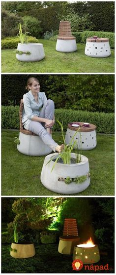 Beautiful Concrete Garden Furniture Concrete and Nature united design/development of garden furniture by Katharina Buchholz - Dome Decoration Cement Art, Concrete Crafts, Concrete Art, Concrete Garden, Concrete Design, Concrete Planters, Hand Planters, Outdoor Projects, Garden Projects