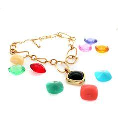 "qvc NO RESERVE!! JOAN RIVERS Goldtone 10 Color Changeable 17.25"" Necklace B904 #JoanRivers #Pendant"