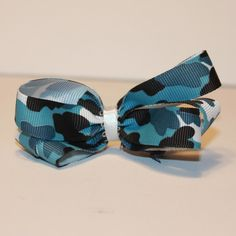 Camo Blue Hair Bow from Vinyl Expressions for $1.50