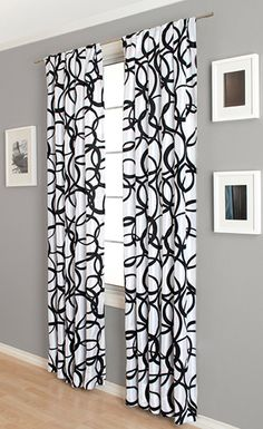 black and white delight nirvano 84 inch rod pocket curtain panel