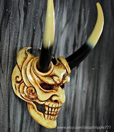 Devil Samurai Airsoft Mask BB Gun Oni Hannya Halloween | Etsy Mascara Oni, Hannya Maske Tattoo, Ronin Samurai, Oni Mask, Japanese Mask, Airsoft Helmet, Cool Masks, Masks Art, Dark Fantasy Art