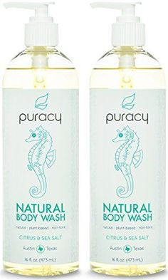 Puracy Natural Body Wash  SulfateFree  The BEST Shower Gel  Daily Cleanser  Citrus  Sea Salt  16 ounce Pack of 2 ** Click image to review more details.