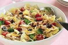 Chicken Bow-Tie Pasta Salad Recipe - grilled chicken breast makes this pasta salad even heartier.