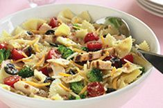 Chicken Bow-Tie Pasta Salad Recipe - grilled chicken breast makes this pasta salad even heartier.