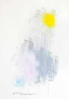 Abstract Painting, yellow + grey