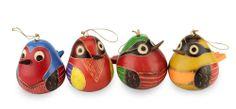 Mate Gourd Ornaments Set of 4 Handmade Folk Art 'Bright Songbirds' NOVICA Peru