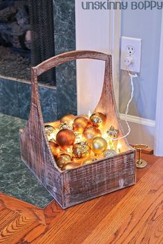 Christmas lights and extra ornaments in a basket.
