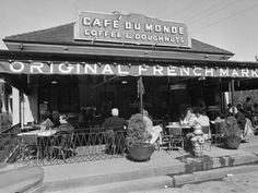 Vintage picture of Cafe du Monde in the New Orleans French Quarter - available through AllPosters.com