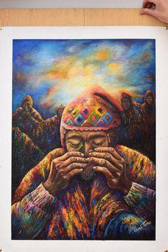 Home decor, wall art, oil painting, Peruvian art de TinoArt en Etsy