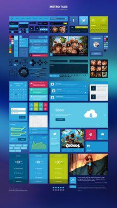 Metro Tiles - Free UI Kit  #freepsdfiles #flatdesign #flatpsdtemplates #webelements #uikits #vectoricons