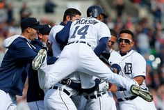 Ian Kinsler homered and drove in the winning run with a single in the 10th inning to lift the Detroit Tigers over the Kansas City Royals 2-1 on April 2, 2014.