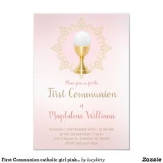 First Communion catholic girl pink gradient Invitation