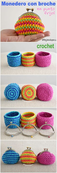 Crochet: Monederos con broche tejidosten punto frijol o bean stitch en forma circular paso a paso en video! Knit Or Crochet, Crochet Crafts, Crochet Stitches, Crochet Projects, Crochet Bags, Crochet Designs, Crochet Patterns, Crochet Coin Purse, Crochet Videos