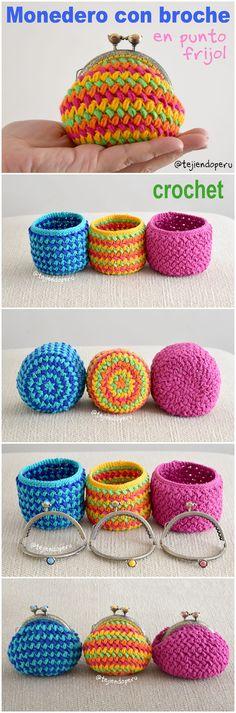 Crochet: Monederos con broche tejidos en punto frijol o bean stitch  en forma circular paso a paso en video! :)