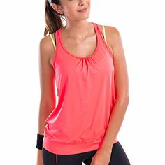 36a78a568bfa98 SYROKAN Women s Active Racerback Athletic Sports T-shirt Long Tank Top  Orange M