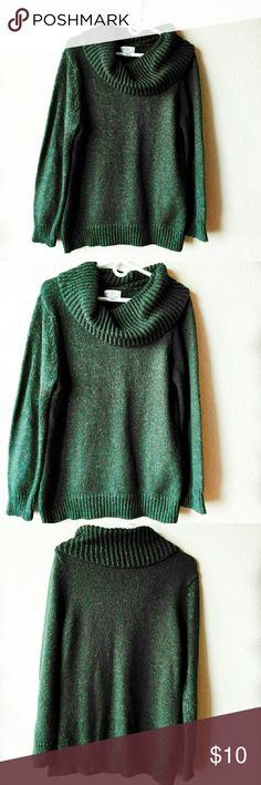 Studio Works Green Sweater Cowl neck.  Size Large.  Green with small multi color specks. Studio Works Sweaters V-Necks