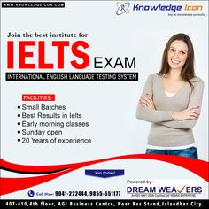 Knowledge Icon is that the Best IELTS Institute in Jalandhar. If you would like to travel Abroad and fulfill your dreams. Then Knowledge Icon could be a smart preference for you. Come and be part of Knowledge Icon for IELTS work. We offer free consul. English Language Test, Ielts Reading, Learning Techniques, Best Careers, Study Skills, International School, Career Opportunities, Social Media Design, Training Programs