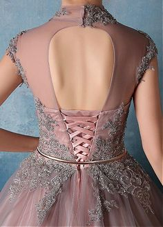 Wedding Dresses Ball Gown, Vintage Tulle & Satin High Collar Ball Gown Prom Dresses With Beaded Lace Appliques DressilyMe Sexy Wedding Dresses, Cheap Wedding Dress, Bridesmaid Dresses, Prom Dresses, Masquerade Ball Dresses, Ball Gowns Prom, Robes Quinceanera, Unconventional Wedding Dress, Lace Dress
