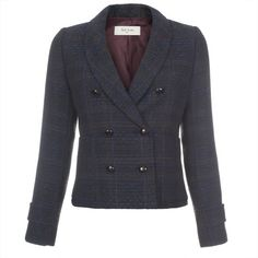 Paul Smith Blue Tweed Double-Breasted Jacket (12.565 RUB) ❤ liked on Polyvore featuring outerwear, jackets, blue, shawl collar jacket, woven jacket, paul smith, patch jacket and stitch jacket