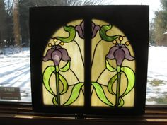 Hey, I found this really awesome Etsy listing at https://www.etsy.com/listing/173425800/iris-stained-glass-panel-antique